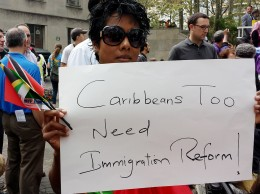Felicia Persaud, the Caribbean-born executive of Hard Beat Communications, rallies for immigration reform on Oct. 5, 2013. (NAN Image)
